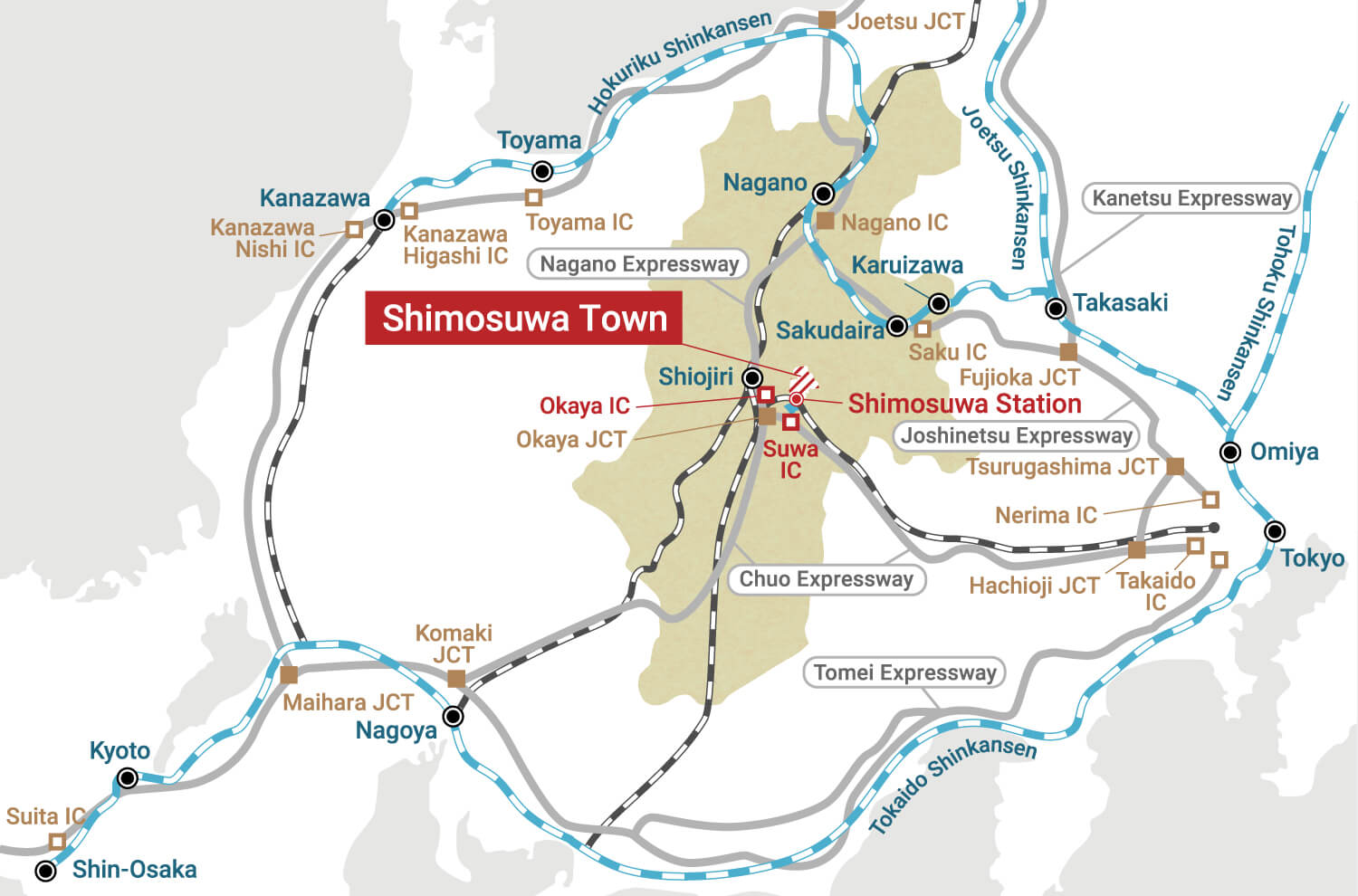 Access Map to Shimosuwa Town